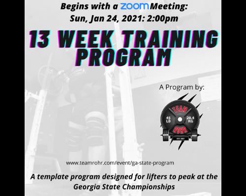 GA State Meet – 13 Week Training Program